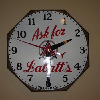 Finished restoration and  hung-up Shonbeck Clock Co - Advertising
