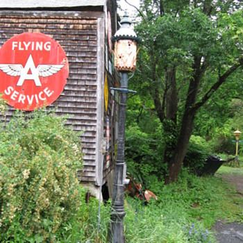 Flying A sign with gas light birdhouse - Folk Art