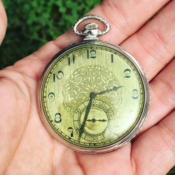 Vintage Elgin Pocket Watch w/ Green Dial - Pocket Watches