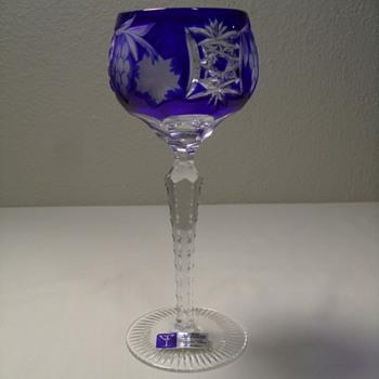 "Bohemian, Cut to Clear, Cobalt Blue Goblet - 8 3/8""  - Art Glass"