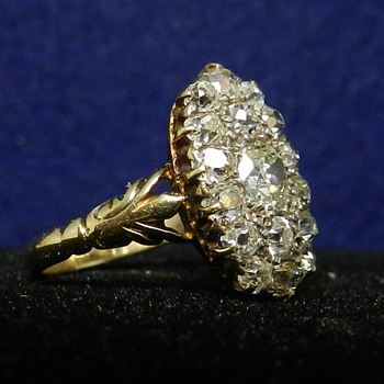 14k Diamond Art Nouveau Era Ring - Old Mine Cut - Fine Jewelry