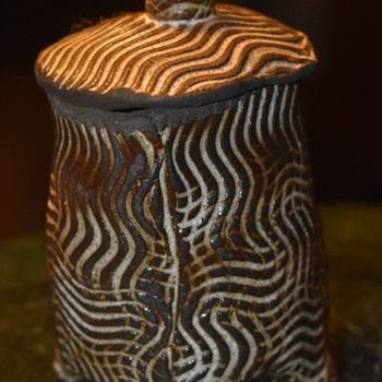 Unsigned Covered Jar - interesting texture and form - handmade - Pottery