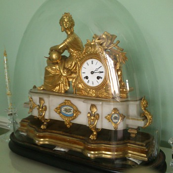 Antique Mantle Clock glass dome; could be gilt; French; marble; Uranie