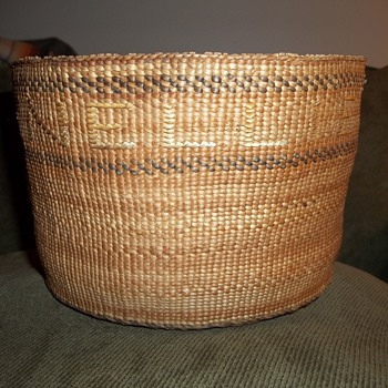 "Old Alaskan Tlingit Basket with the names  ""Nellie"" and ""Leonteen"" Woven Into It - Native American"