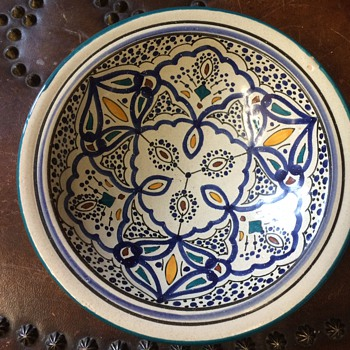 Vintage Italian Mediterranean Red Clay pottery - Blues, greens, yellows - Pottery