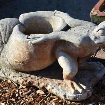Cast Stone Planters - Frogs Dragging Snails - Pottery