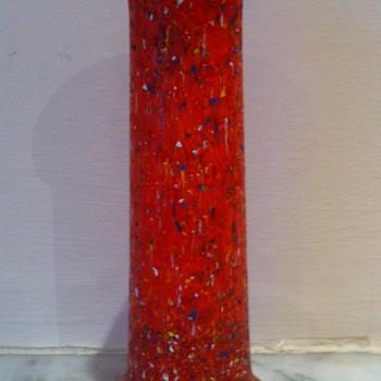Orange tango spill vase with multicoloured glass chips - Art Glass