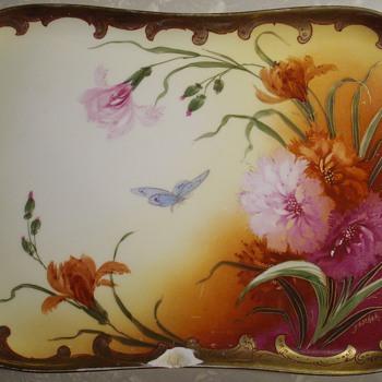 Artist signed Limoges France tray.