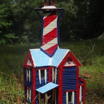 Popsicle Stick Lighthouse - Popsicle Stick House - Popsicle Stick Art - Folk Art