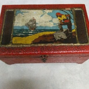 WOOD OIL PAINTING PIRATE CHEST - Folk Art