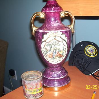 cranberry swirl gold trim lamp  - Lamps