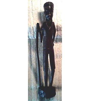 "Tall Slender 14"" Ebony Figure / Unknown Maker and Age - Folk Art"
