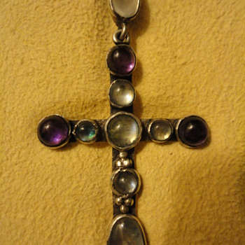 Arts and Crafts Amethyst and Moonstone Cross Pendant - Fine Jewelry