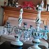 Porcelain covered green glass cendelabra