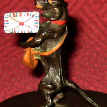 Vintage Cold Painted Dachshund Postage Stamp Dispenser - Animals