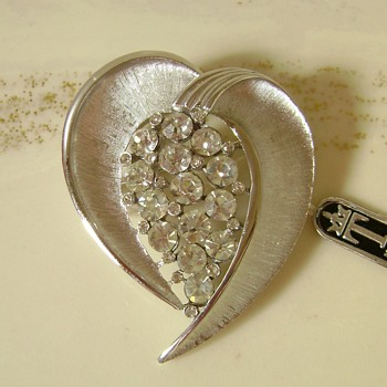 Tribute To CW - Trifari Heart Swag Pin - Costume Jewelry