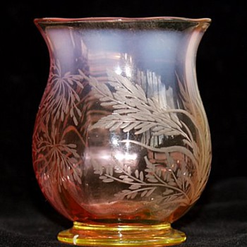 Mystery Vaseline Cranberry Opalescent - Stourbridge ? Moser ? - Art Glass