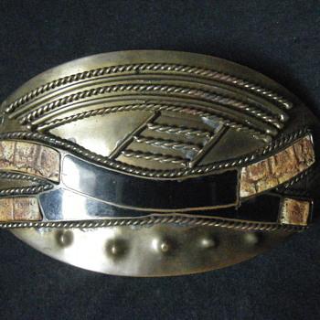 Large Enameled Vintage Croc skin + solid brass African Belt buckle - Mens Clothing