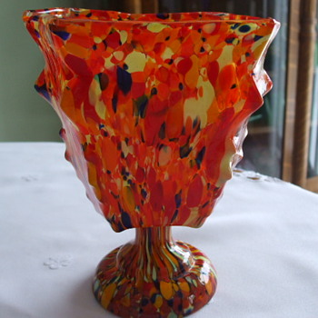 Rectangular-Shaped Humongous CZECH Signed KNUCKLE VASE with SPATTER - Art Glass