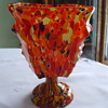 Rectangular-Shaped Humongous CZECH Signed KNUCKLE VASE with SPATTER