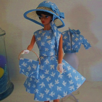 Handmade Vintage Barbie Silkstone Fashion Blue Birds Dress and Hat by Kim - Dolls