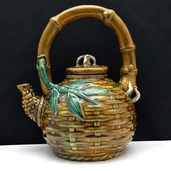 Majolica Style Basket Weave Bamboo Tea Pot - China and Dinnerware