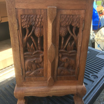 Small wooden carved elephant stand - Furniture