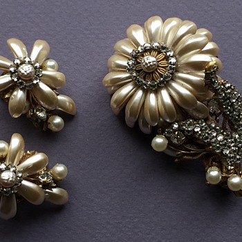 Mirian Haskell Baroque Pearl & Rhinestone Montees Brooch and Earrings - Costume Jewelry