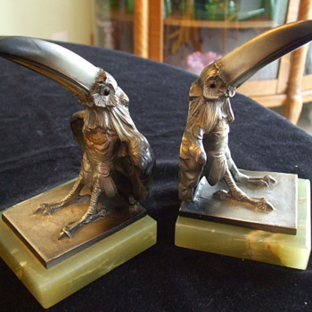 "Art Deco AUSTRIAN BRONZE ""TOUCANS"" BOOKENDS  - Art Deco"