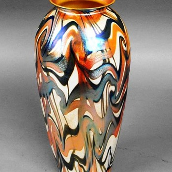 Durand Three Color Iridescent Vase c.1925 - Art Glass