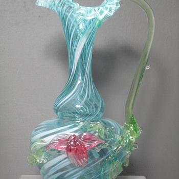 "Pitcher - Applied Handle & Flowers - Thorns - Swirled - Ruffled - 9"" - Art Glass"
