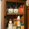 Small, Glass-doored Oak Cabinet