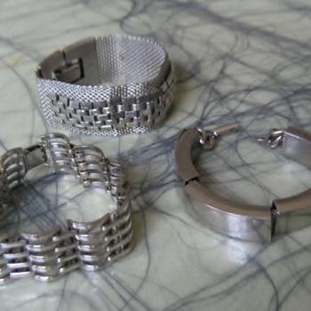 Rail  & mesh silvertone 50's-60's bracelets - Costume Jewelry