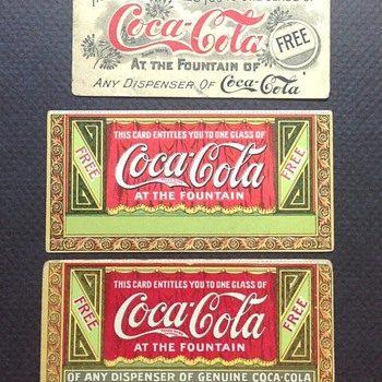 1905 and Pre-1900's Free Drink Coupons - Coca-Cola