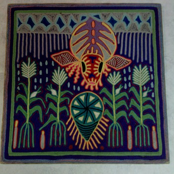 HUICHOL  INDIAN YARN PAINTING - Folk Art