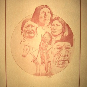 Indian Sketch - Bury My Heart With My People - Folk Art
