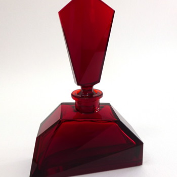 Red cut flacon - Art Glass