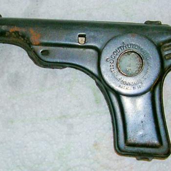 "Rare ""Scout Automatic"" Tin Toy Cap ~ Pop Gun Pat 11/21/1916 Searight downs Mfg co."