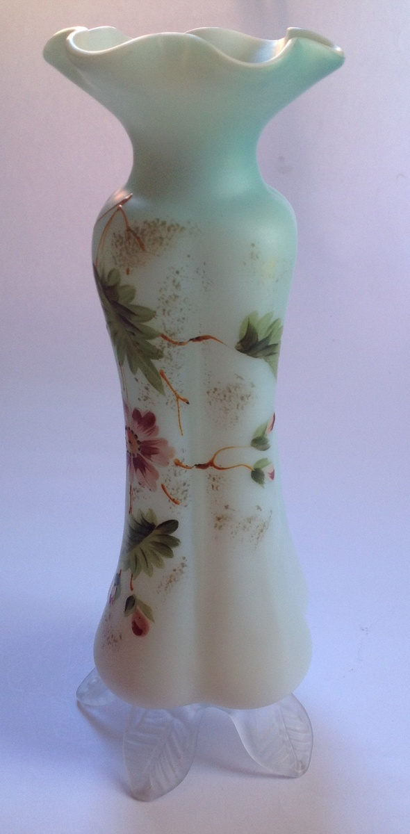 Victorian Cased Satin Glass Vase With Painted Decoration