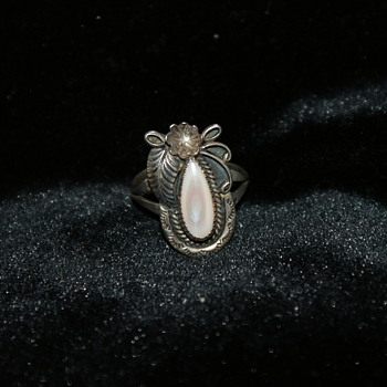 Sterling Silver and Mother of Pearl Native American Ring A Cadman - Fine Jewelry