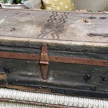 Canvas and Leather Wooden Trunk - Furniture