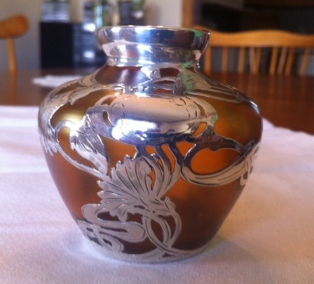 Art Nouveau Loetz Type Vase With Sterling Silver Overlay