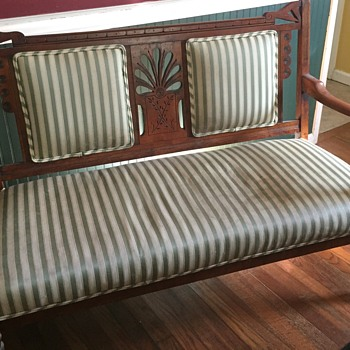 Antique Wood Settee - Furniture