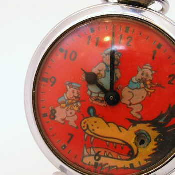 Big Bad Wolf and Three Little Pigs Automaton Ingersoll Great Britain Made - Pocket Watches