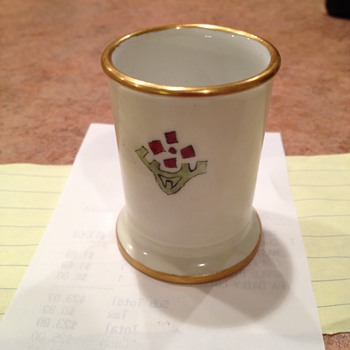 1921 Limoges  CHINTZ Cup Artist Initials   and dated on Bottom