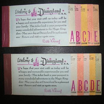 "4 Vintage Disneyland Ticket Books   ""Disneyana""  - Advertising"