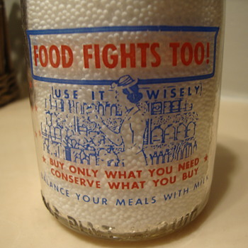 1/2 PINT SANITARY'S MILK & ICE CREAM CREAM TOP WAR SLOGAN......... - Bottles