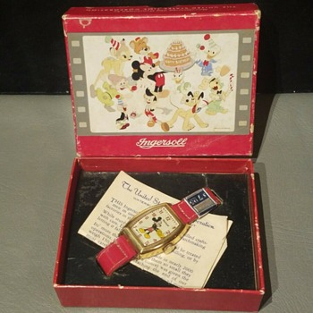 Gold Toned 1948 or 1947 Mickey Mouse Watch in Birthday Box - Wristwatches