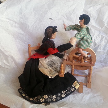 Nistis Woman Weaving with Child Doll - from Spain 1950's - Dolls