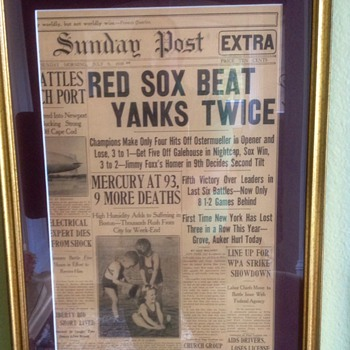 BOSTON RED SOX Beat NEW YORK YANKEES July 9 1939 News Paper